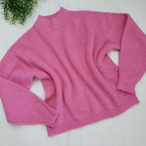 Leith Pink Mock Neck Crop Fuzzy Sweater sz Med